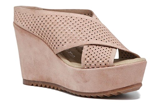 PEDRO MIRALLES Women's Silk Cross Over Diamante Leather Suede Wedge Mules L 42 (38 EU, Nude Suede)