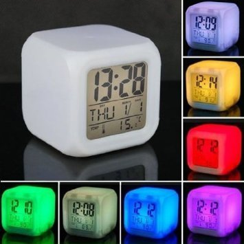 Store of Gift 7 Colour Changing LED Digital Alarm Clock with Date, Time, Temperature For Office Bedroom