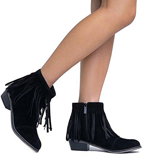 Fringe Toe Women Black Suede Cap DC62 18 Ankle Booties Breckelle's PTXwqtxp