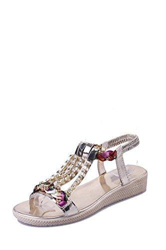 Rhinestone sandalias, zapatos de mujer moda all-match vacaciones playa zapatos sandalias Thirty-nine