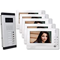 Five Units Apartment Video Intercom with Auto Visitor Photo Memory Doorbell Security