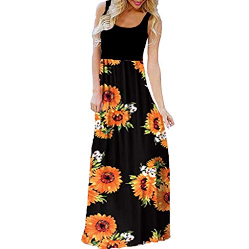 Thenxin Casual Sleeve O-Neck Print Maxi Dress for Women's Tank Long Dress for Beach (Black,M)