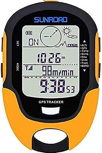 SUNROAD GPS Digital Impermeable al Aire Libre Deportes brujula cronometro altitud pre Alerta Recordar Tiempo Forcast altímetro barómetro podómetro Senderismo