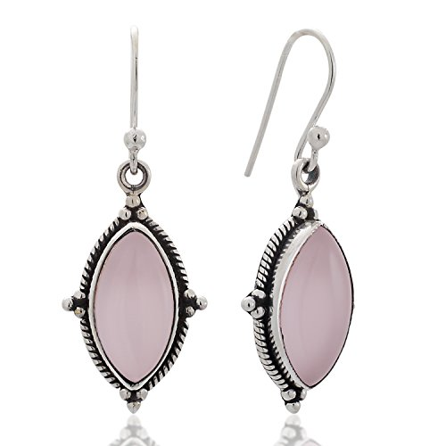 Crystal Rope Earrings (925 Sterling Silver Rose Quartz Vintage Marquise Shape Rope Edge Dangle Hook Earrings 1.4