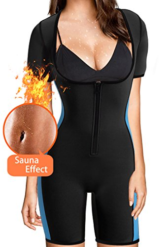 BRABIC Women's Full Body Shaper Sport Sweat Neoprene Suit,Waist Trainer Bodysuit for Weight Loss (L, Black neoprene suit women)