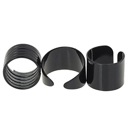Fashion Womens Black Stack Plain Above Knuckle Band Midi Rings (Pack of 3)