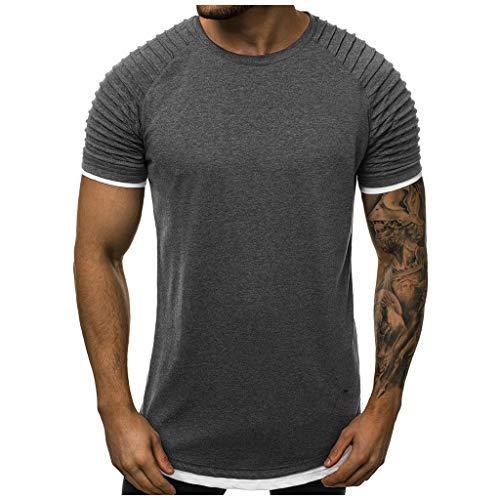 (Mote Mens Clothes, MensFake Two Piece Pleats Gradient Pattern Casual Lapel Short Sleeve Shirt T-Shirt)