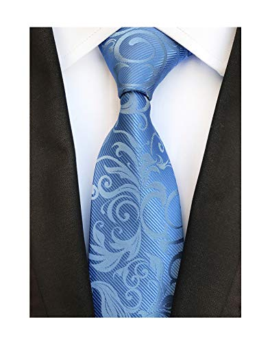 (Men's Light Sky Blue Woven Silk Tie Best Business Evening Necktie Special Events)