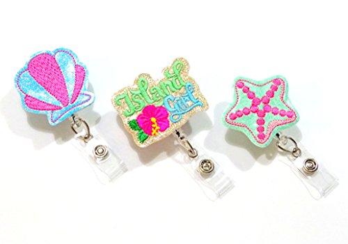 2002 Island - Island Girl Badge Reel Gift Set-Tropical Badge Reel-ID Badge Holder-Nurse Badge Reel-Nurse Gifts-Retractable ID Badge Holder-Glitter Badge Reel-ID Holder-Nursing Gifts (Set of 3)