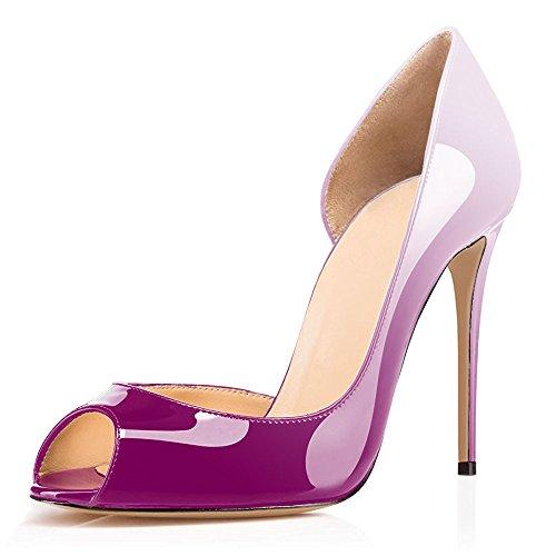 Violet Chaussures High Talon Pumps Heels Sexy Stiletto uBeauty Escarpins Rouge Femmes Toe Aiguille Peep multicolore Soles Sandales RxACfq4Zwn