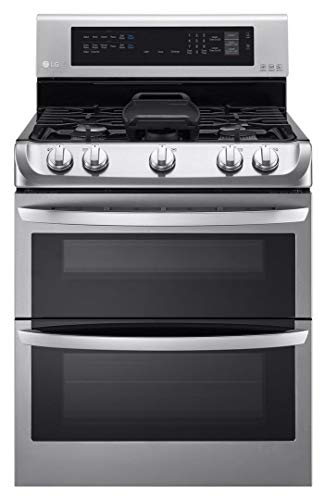 LG LDG4315ST 30in Freestanding Double Oven Gas Range with 6.9 cu. ft. Capacity, 5 Burners, Griddle, Probake Convection, Glass Touch Controls and Door Lock, in Stainless Steel (Renewed)