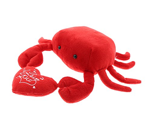 Crab Stuffed Animal (Dollibu Red Crab I Love You Valentines Stuffed Animal - Heart Message - 6 inch - Super Soft Plush - Item #K5139-5999)