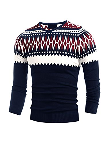 Zig Zag Knit Top (uxcell Men Long Sleeves Zig-zag Geometric Prints Slim Fit Knit Top Red S)