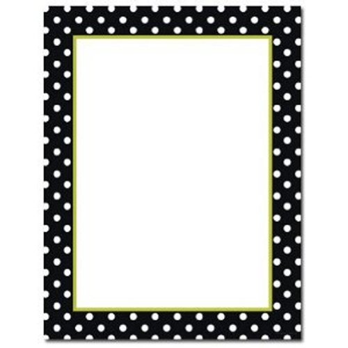 100 Black and White Dots (With Green Inside Border) Letterhead Sheets Border Letterhead 100 Sheets