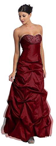 Taft Nachtigall Lerche Brautjungfernkleid Abendkleid Burgund Ballkleid Abschlussballkleid gerafft 7Y1q7