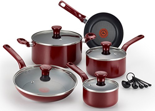 T-fal C514SE Excite Nonstick Thermo-Spot Dishwasher Safe Oven Safe PFOA Free Cookware Set, 14-Piece, Red (Pans Pots T-fal)
