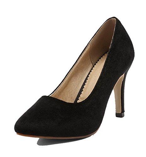 Allhqfashion Imitation Daim À Bout Fermé Fermé-orteil Chaton-talons Pompes-chaussures Noir