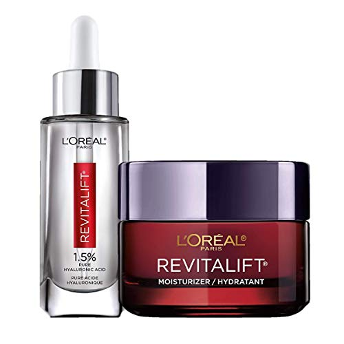 L'Oreal Paris Hyaluronic Acid Serum For Face with Vitamin C and Triple Power Face Moisturizer Revitalift Anti-Aging Skin Care Regimen Kit, Paraben and Fragrance Free, 2 count