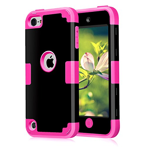 (Case for iPod Touch 5 Case for iPod Touch 6 Case, Dual 3 in 1 Hard PC Case + Silicone Shockproof Heavy Duty High Impact Armor Hard Case Cover for Apple iPod Touch 5 6th Generation (Black+hot Pink))