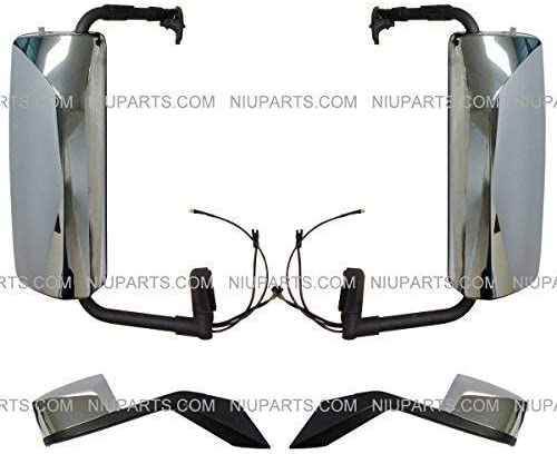 Fit: Volvo VNL 670 780 630 730 Trucks 4 Pieces Mirror Combo Door Mirror /& Hood Mirror Chrome LH /& RH