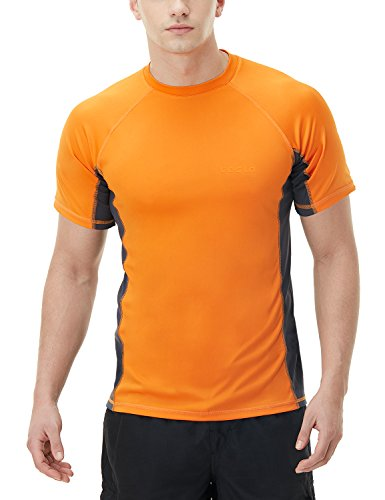 TSLA Men's UPF 50+Swim Shirt Loose-Fit Swim Tee Rashguard Top,Active Sun Block(mss01) - Orange & Charcoal, Medium. (Gear For Sports Vest)