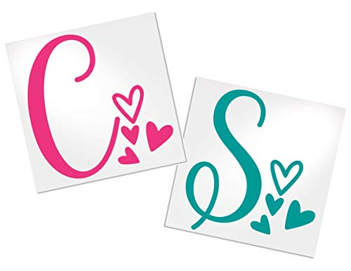 Letter Decal with Hearts for Cup, Car, Planner, Laptop, Your Choice of Color & Style | Decals by ADavis