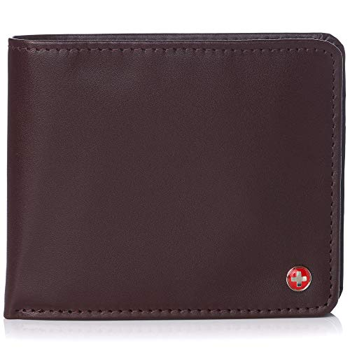 Alpine Swiss RFID Men's Wallet Deluxe Capacity Passcase Bifold With Divided Bill Section Smooth Finish Burgundy ()