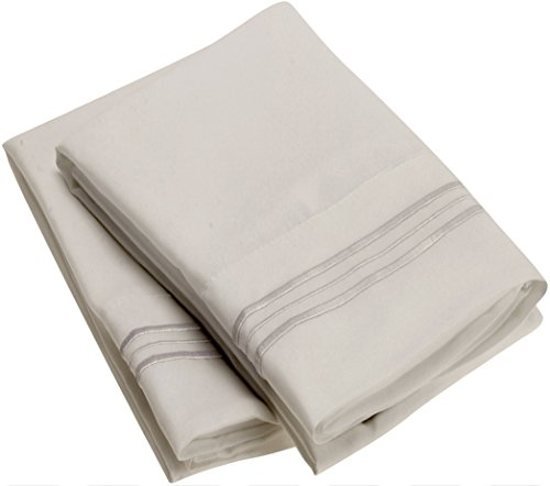 Harmony Linens Pillowcase Set - 1800 Double Brushed Microfiber Bedding - Deep Pocket, Hypoallergenic - Wrinkle, Fade, Stain Resistant Sheets (Set of 2 Standard Size, Light Gray) - Pillow Bedding Set