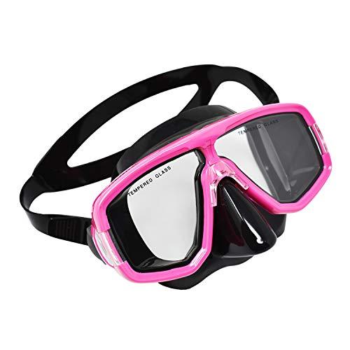 Palantic Diving & Snorkeling 2 Window Black Dive Mask, Pink Frame (Chalet Window)