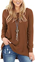 ANRABESS Womens Waffle Knit Tunic Blouse Long Sleeve High Low Hem Slit Side Tops Loose Fitting Plain Shirts