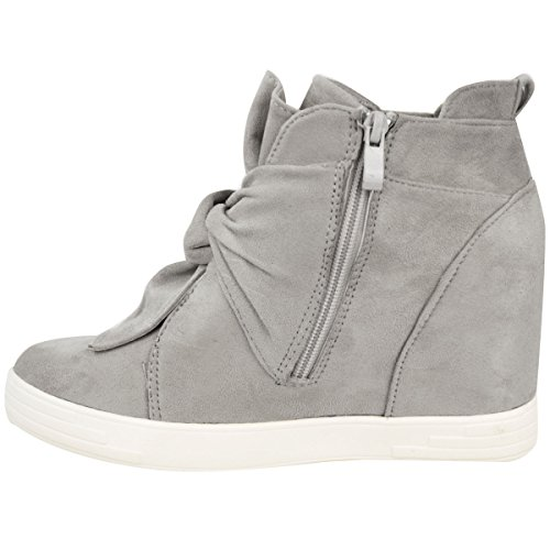 Fashion Thirsty Womens Mid High Heel Wedges Sneakers Hi Tops Bow Trainers Knot Shoes Size Grey Faux Suede k74jAmMBm