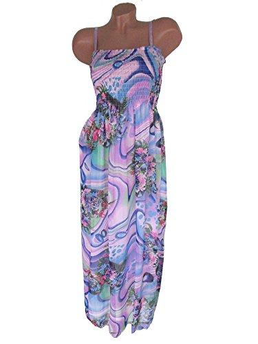 Damen Sommerkleid lang, Chiffonkleid, Maxikleid, fliederfarben lila, DMJ-1186