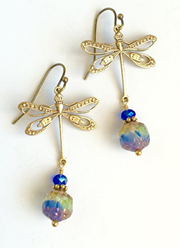 Dragonfly Earrings, Blue Cathedral Crystal Dragonfly Earrings, Blue Iris Czech Glass, Antique Brass Filigree Dragonfly, Dragonfly Jewelry.