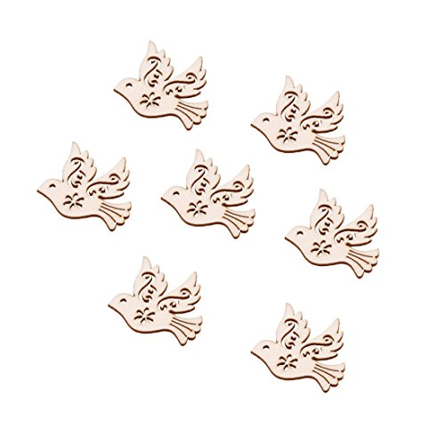 UNKE 10 Pcs Pigeon Love Birds Wooden Embellishments DIY Crafts Hanging Ornament Home Wedding Decoration by UNKE (Image #2)