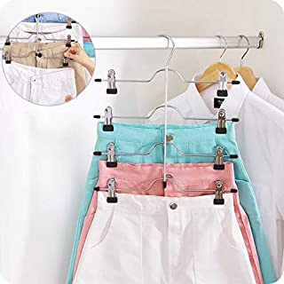 DOIOWN Skirt Hangers 4 Tier Pants Hangers Space Saving Hangers Closet Organizer for Skirt, Pants(3 Pieces) (3 Pieces)