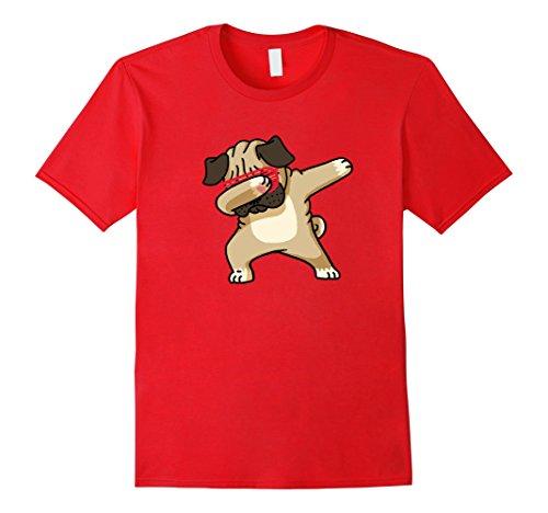 [Men's Dabbing Pug Funny Shirt Dab Dog Hip Hop Small Red] (Teachers Pet School Girl Costume)