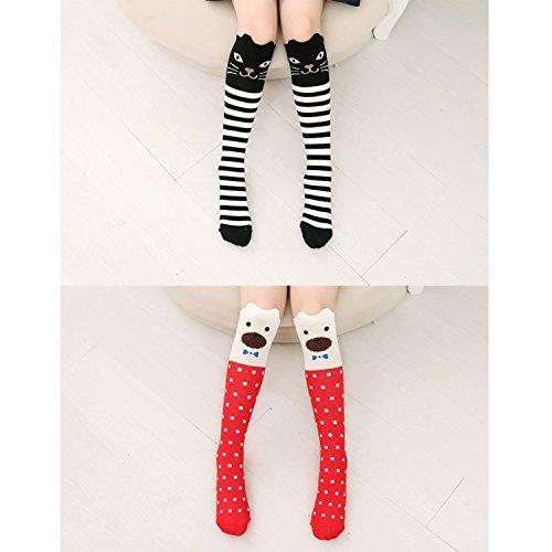 6 Pack Girls Socks, Cotton Over Calf Knee High Socks (Cartoon Animal Panda Cat Bear Fox) by Fansco (Image #3)