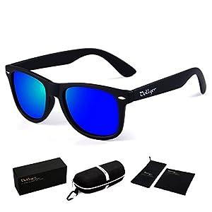 Dollger Classic Wayfarer Polarized Sunglasses Women Matte Black Frame Retro Reflective Mirror Sunglasses