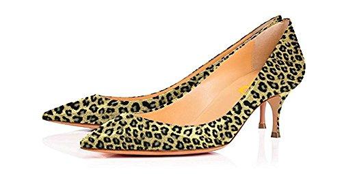 (FSJ Women Sexy Pumps Leopard Snake Prints Shoes Pointed Toe Kitten Low Heels Size 8 Lemon-Leopard)
