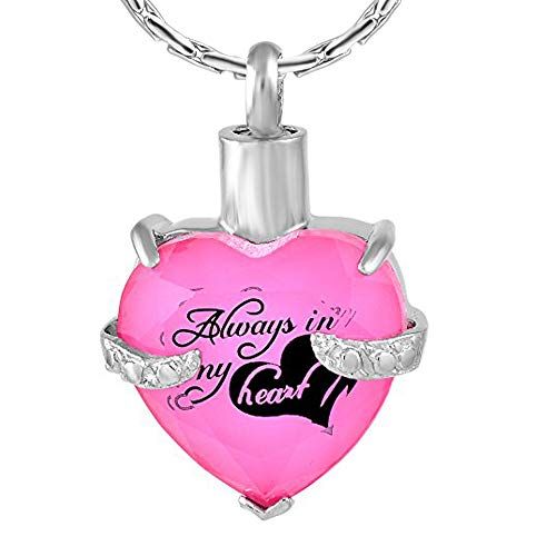 (constantlife Cremation Jewelry for Ashes, Heart Shape Memorial Urn Necklace Stainless Steel Crystal Glass Pendant Ashes Holder Keepsake for Women (Z-Pink))