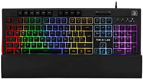 THE G-LAB Keyz Tellurium Teclado Gaming QWERTY Incluye Ñ - Teclado Gaming con Retroiluminación RGB Multicolor, Reposa Muñecas Magnético, 6 Teclas ...
