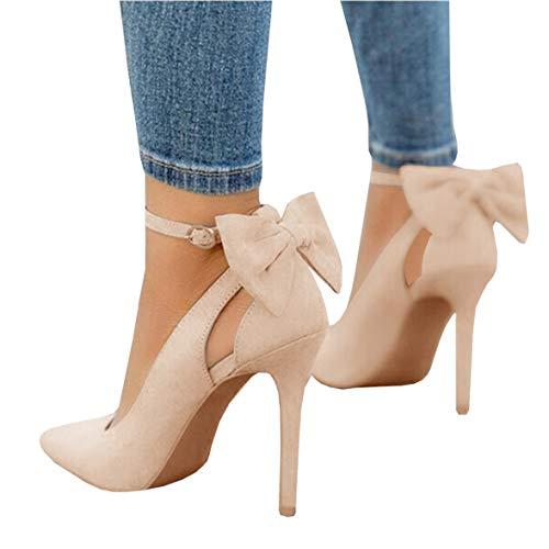 Mafulus Womens High Heel Pumps Pointed Toe Bowtie Back Ankle Strap Buckle Dress Shoes Beige ()