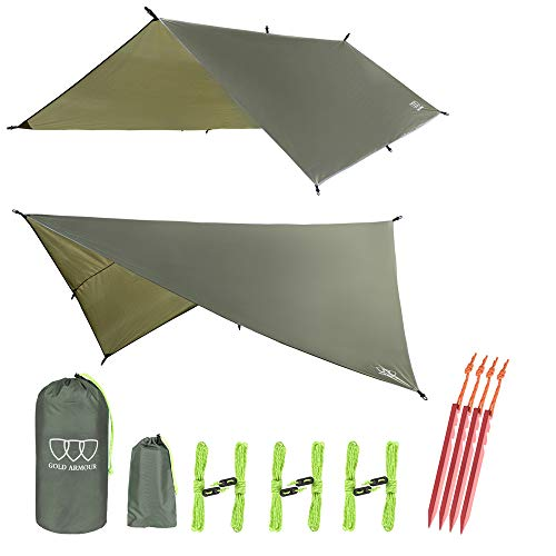 Gold Armour Hammock Tent Fly Tarp Waterproof (OD Green) (Best Tarp For Hammock Camping)