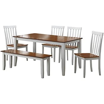 AmazoncomWhite Dining Room Set with Bench This Country Style