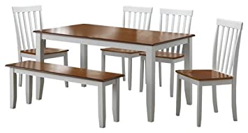 Boraam 22034 Bloomington 6 Piece Dining Room Set, White/Honey Oak