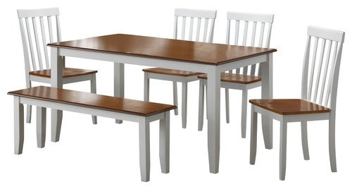 Mission Oak Oak Pub Table - Boraam 22034 Bloomington 6-Piece Dining Room Set, White/Honey Oak