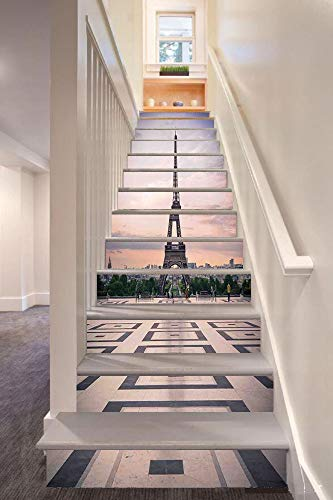 (Paris City Decor 3D Stair Riser Stickers Removable Wall Murals Stickers,Trocadero and Eiffel Tower at Sunshine Paris Skyline Historic Landscape View,for Home Decor 39.3