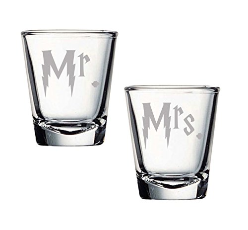 Harry Mr. and Mrs. Etched Shot Glass Set of TWO (By Brindle S. Designs) Wedding Gift]()