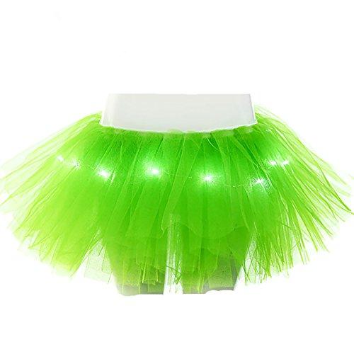 Halloween Women's 5 Layers LED Light Up Tutu Skirt Neon Rainbow Mini Costume Adult Dance Tulle (Neon Dance Costumes)