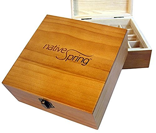 Pecan Accent - Essential Oil Carrying Case Wooden Box Holds 25 Bottles 5-15ml Pecan Stain